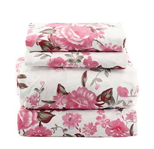 1800 Series Super Soft Egyptian Comfort 4pcs Queen Sheet Set Microfiber Floral Rose Pink