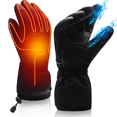Black Socks Electric Heated Gloves Motorcycle Driving Gloves for Men Women, 7.4V Rechargeable Battery Heating Gloves, Winter Cycling Hunting Ski Warm Insulated Mitten Glove Hand Warmer Arthritis