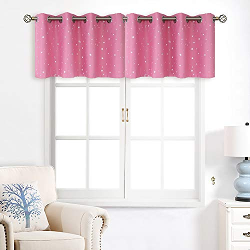 BGment Valance Curtains for Bedroom - Grommet Thermal Insulated Room Darkening Foil Star Patterns Bathroom and Kitchen Blackout Curtains, Set of 2 Panels (52 x 18 Inch, Pink) ()