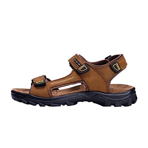 I sandali traspiranti degli uomini dei pattini dell'uomo dei pattini degli uomini della pelle bovina degli uomini di estate nuovi, Brown, Regno Unito = 6, EU = 39