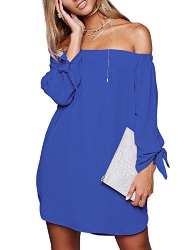 Women's The Casual Shoulder just Loose Dress 8650 quella Off Blue Long w5gIwxqOp