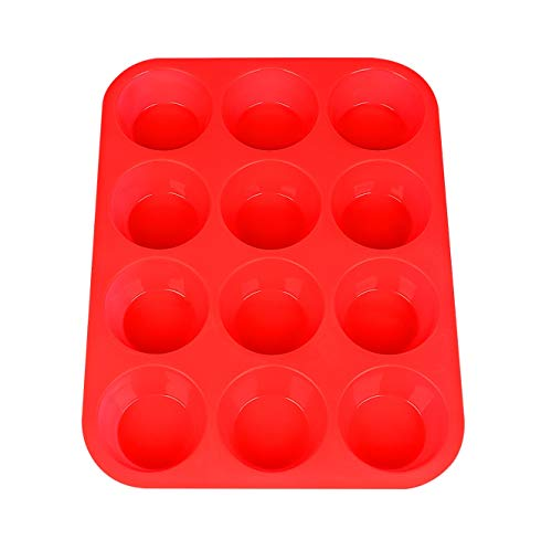 Silicone Muffin Pan, Silicone Muffin Tin for Cupcake Baking Cups Non Stick, 12 Cups Silicone Molds(Red)]()