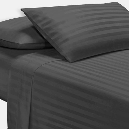 Exotic Bedware 1800 Series Brushed Microfiber 4 PC Attached Waterbed Sheet (With Pole Attachements) Super Single Size - Stripe -