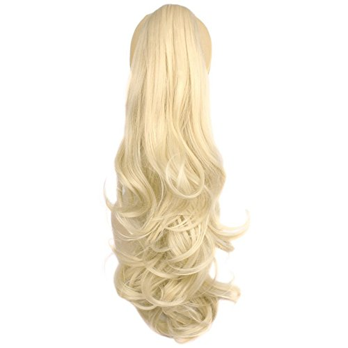 Ponytail Clip in Hair Extensions 24 Inch Synthetic Ponytail Wigs Bleach Blonde 120 Grams Long Natural Claw Clip Curly Ponytail Hair Piece, 613]()