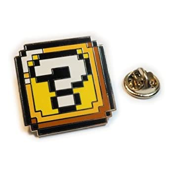 Super Mario World ? QUESTION BLOCK BOX Pixel SNES Hat Jacket Tie Tack Lapel Pin