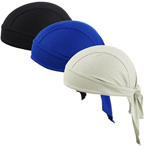 VBIGER Sweat Wicking Beanie Skull Cap Quick Dry Adjustable Cycling Hat Wrap Rag Men Women (Set 1(3 Pieces))