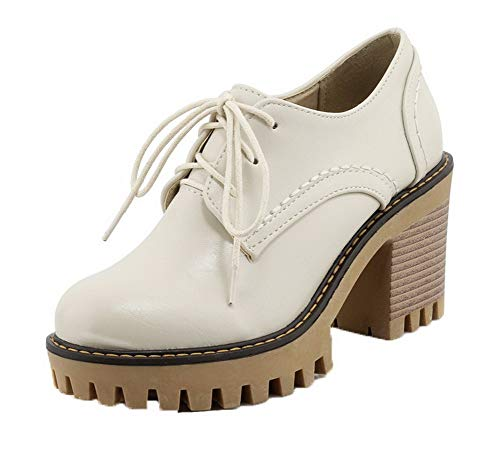 Up Solid Shoes Beige Toe Lace TSDDH004389 AalarDom Women's Closed Pumps Round qF8ZIY