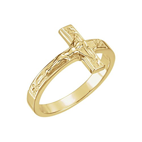 FB Jewels 14K Yellow Gold Ladies Crucifix Chastity Ring Size 6