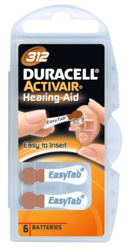 Duracell Easy Tab Hearing Aid Size 312 Batteries 20 Count 4 Duracell Easy Tab