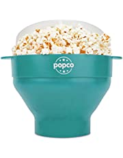 The Original Popco Silicone Microwave Popcorn Popper with Handles, Silicone Popcorn Maker, Collapsible Bowl Bpa Free and Dishwasher Safe - 15 Colors Available (AQUA)