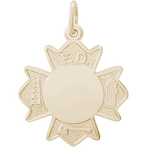 Fire Department Badge Charm - Rembrandt Charms Two-Tone Sterling Silver Fire Department Badge Charm (20 x 20 mm)
