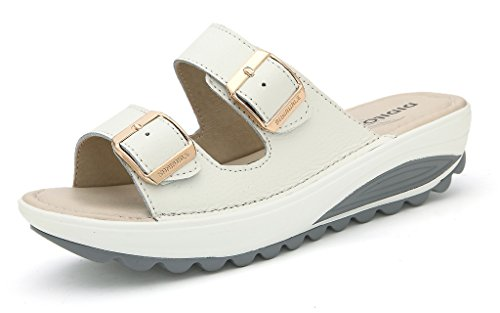 SUNROLAN 921bai37 Demi Women's Slide Sandal Strap Bucket Slip On Shoes Wedge Platform Sandals White US (Buckle Strap Platform Wedges)