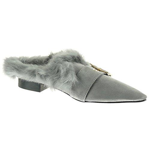 Angkorly Damen Schuhe Mokassin - Slip-On - Pelz - Schleife - Golden Blockabsatz 2 cm Grau