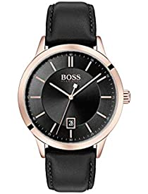 BOSS Men's Officer Quartz Rose Gold and Leather Strap Casual Watch, Color: Black (Model: 1513686)