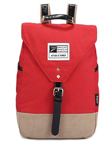 Leaper Unique Girl Casual Style Laptop Backpack/ School Bag/ Travel Daypack with Laptop Lining (red+gray)