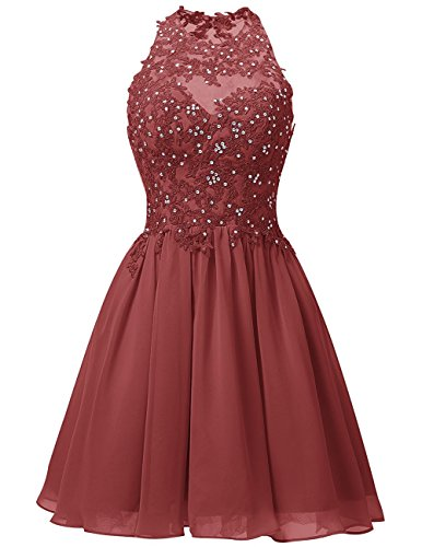 Cdress Short Homecoming Dresses Chiffon Appliques Bodice Cocktail Gowns Junior Prom Evening Dress Rust_Red US 2