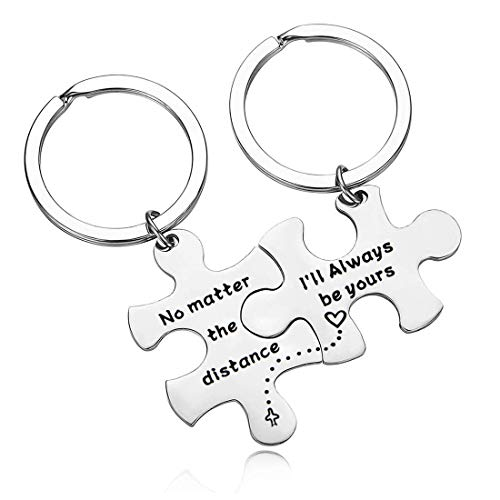 Zuo Bao Couple Keychains No Matter The Distance & I'll Always Be Yours Set Keychains Gift for Wife Husband Boyfriend Girlfriend Keychain Suit (Jigsaw Couple Keychains)