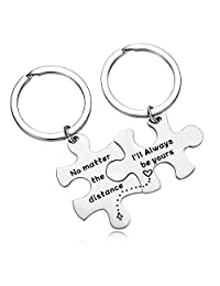 Couple Keychains No Matter The Distance & I'll Always Be Yours Set Keychains Gift for Wife Husband Boyfriend Girlfriend Keychain Suit