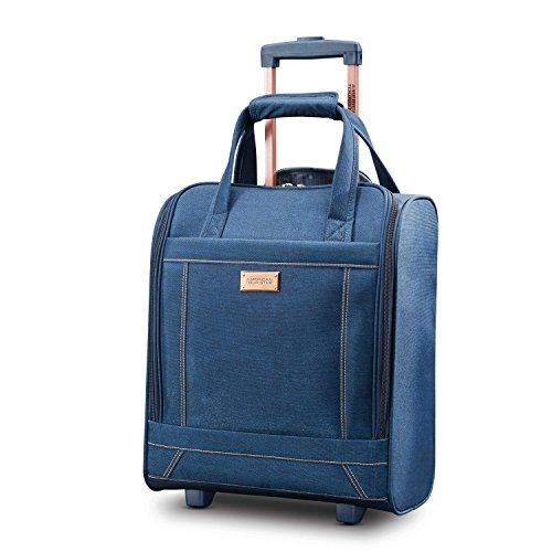 American Tourister Belle Voyage Rolling Tote Carry-On Luggage, Blue Denim