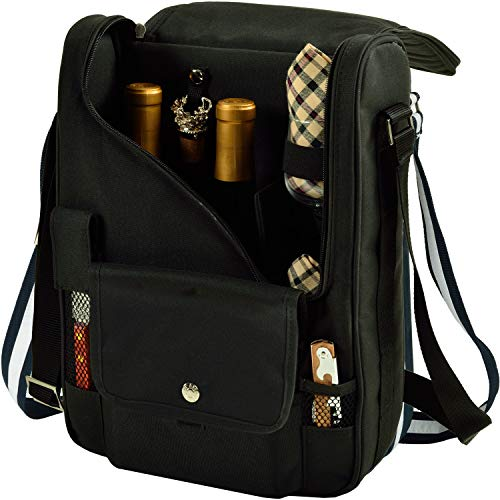 (Picnic at Ascot - Wine Carrier Deluxe with Glass Wine Glasses and Accessories for Two, Black/Plaid)