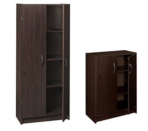 Bundle of 2 includes Pantry Cabinet and 2-Door Stackable Laminate Organizer, Espresso ()