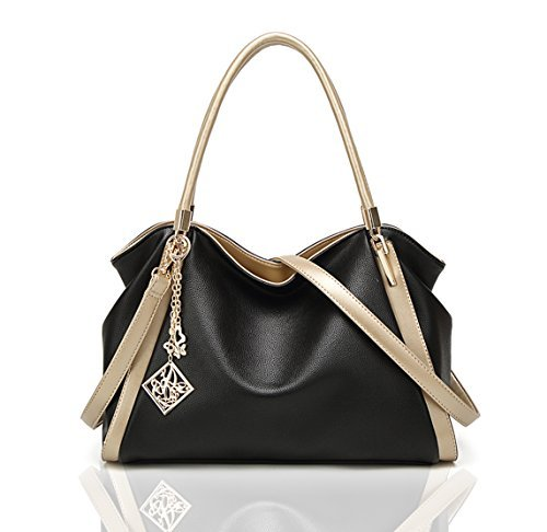 LIKE IT LOVE IT Women Tote Hobo Handbag Soft PU Leather Crossbody Shoulder Bag Satchel Mother's Day Gift for Mom(Black) (Like Purse Leather Handbag)