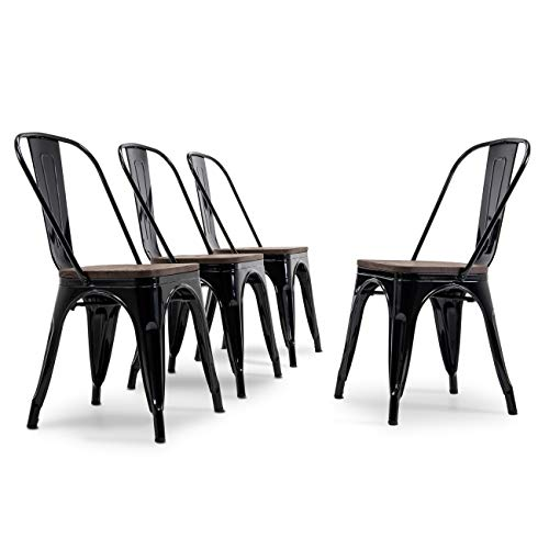 Belleze Modern Style Metal Industrial Stackable Bistro Dining Chairs Set of 4 Wood Seat Cafe Bar Restaurant Stool Black (Barn Chairs Wood)