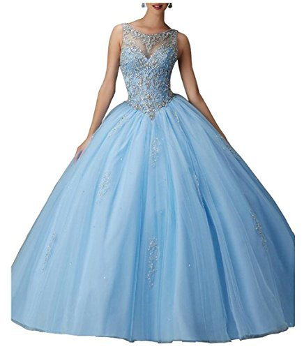 Beilite Women's Beaded Ball Gown Quinceanera Dress Tulle Long Appliques Prom Gown Sky Blue 6
