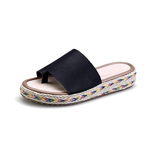 de la abalorios playa de del clip Zapatos 06Negro sandalias de del de pie Calzado mujer dulce Bohemia pCtqfwv