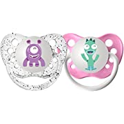 Ulubulu Expression Pacifier Set for Girls, Purple and Teal Monster, 0-6 Months