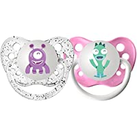 Ulubulu Expression Pacifier Set for Girls, Purple and Teal Monster, 0-6 Month...