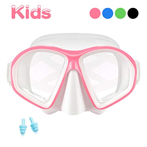 Supertrip Kids Snorkel Mask-Scuba Diving Goggles Anti-Leak Snorkeling Freediving Mask Easybreath Tempered Glass Professional Swimming Gear for Youth Boys and Girls (White ()