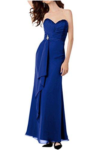 Partykleider Brautjungfernkleider La Geraft Einfach Traegerlos Chiffon Royal Bodenlang Blau mia Braut Abendkleider BOB70H