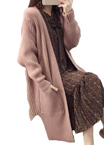 Maruy レディース コート ニット カーディガン ケーブル編み ゆったり ひざ丈 きれいめ シンプル 長袖 コーディネート 厚手 防風 おしゃれ 春 秋
