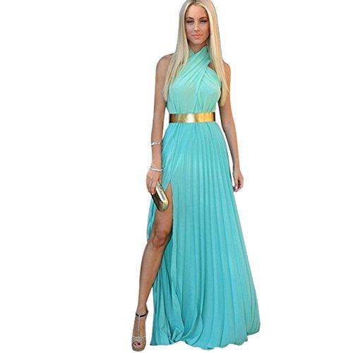 Weixinbuy Womens Sexy Halter Beach Boho Party Chiffon Long Dress Blue S