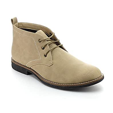 Arider COOPER-03 Men's High-Top Lace Up Chukka Ankle Booties, Color:KHAKI, Size:6.5