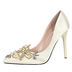 Women Satin Crystal Pearl Party High Heels