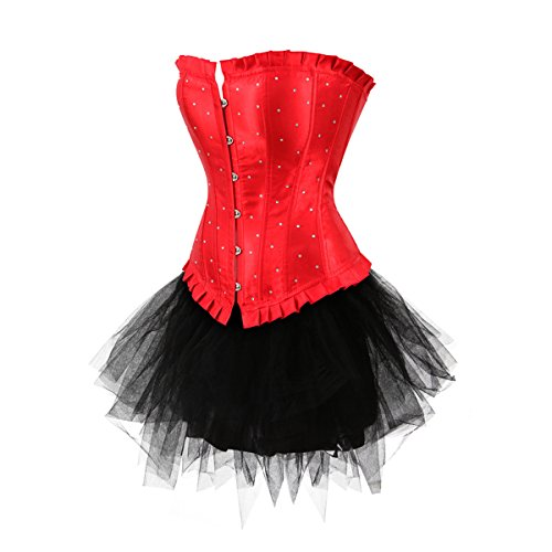 Kranchungel Womens Burleque Lace up Boned Bustier Overbust Corset Top with Skirt Rojo