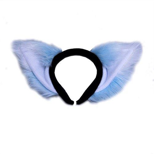 Pawstar Kawaii Furry Fox Ear Headband - Light Blue