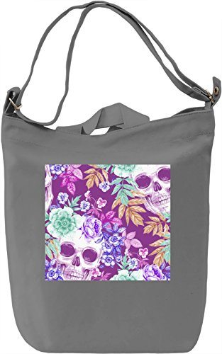 Flower Skull Print Borsa Giornaliera Canvas Canvas Day Bag  100% Premium Cotton Canvas  DTG Printing 