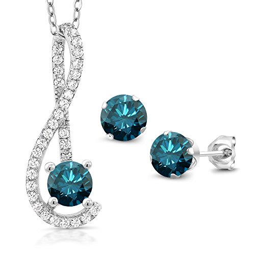 1.91 Ct Blue Diamond White Created Sapphire 925 Silver Pendant Earrings Set by Gem Stone King