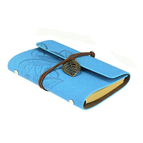 Vintage Leaf Leather Cover Loose Leaf Blank Journal Diary (Blue) - 4
