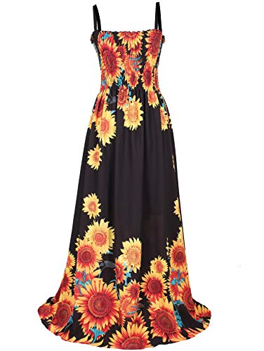 (Plus Size Sundress Floral Black Summer Hawaiian Beach Long Boho Women Maxi Dress (3X, Black/Sun)