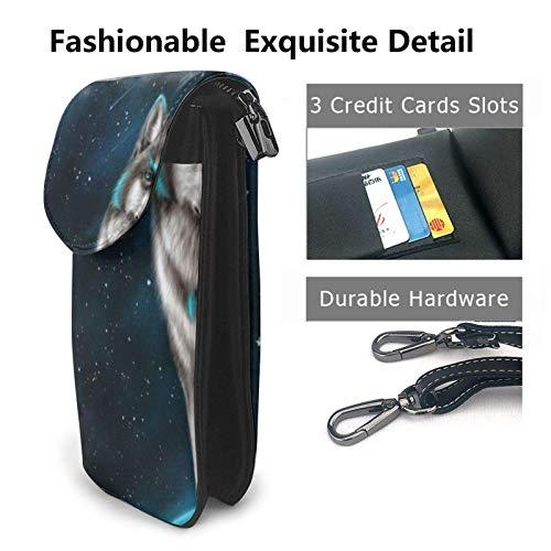 HYJUK Mobiltelefon crossbody väska galax varg kvinnor PU-läder mode handväska med justerbar rem