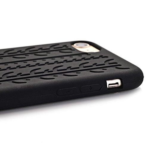 "Apple iPhone 7 4.7"" Handy Tasche Silikon Case Soft Reifenprofil Tyre Schutz Hülle Bag Schwarz"