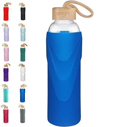 - Origin Best BPA-Free Glass Water Bottle with Protective Silicone Sleeve and Bamboo Lid - Dishwasher Safe (Royal Blue, 14 oz)