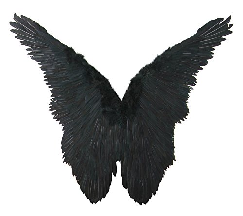 [FashionWings (TM) Black Butterfly Style Costume Feather Angel Wings Adult Size Unisex] (Angel Wings For Halloween Costumes)