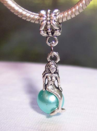 Nickel Pearl Metal Brilliance - Mermaid Blue Pearl Beach Dangle Charm for Silver European Bead Slide Bracelets Crafting Key Chain Bracelet Necklace Jewelry Accessories Pendants