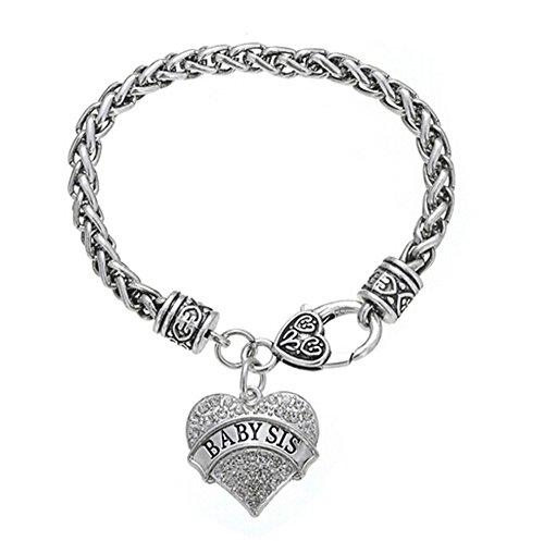 Baby Crystal Charm Bracelet (Fusicase Bling Crystal Silver Hearts Metal Family Member Bracelets(Baby Sister))