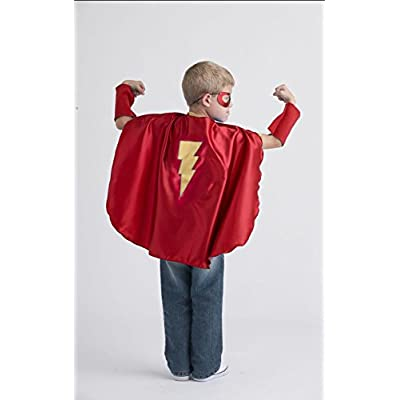 Superfly Kids Red Superhero Cape with Yellow Lightning Bolt: Toys & Games